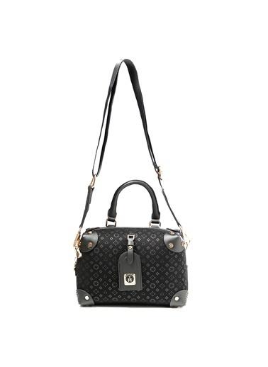 TH Bags TH Bags 1THCW2021013 Fermuarlı Tek Bölmeli Desenli Kadın Omuz Çantası Siyah